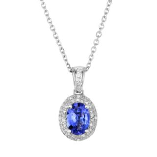 Tanzanite and Diamond Accent Sterling Silver Halo Pendant Necklace