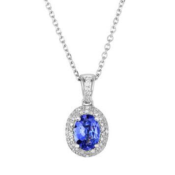 Tanzanite & Diamond Accent Sterling Silver Halo Pendant Necklace