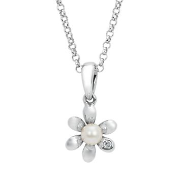 Little Diva Diamonds Sterling Silver Diamond Accent & Simulated Pearl Flower Pendant Necklace - Kids