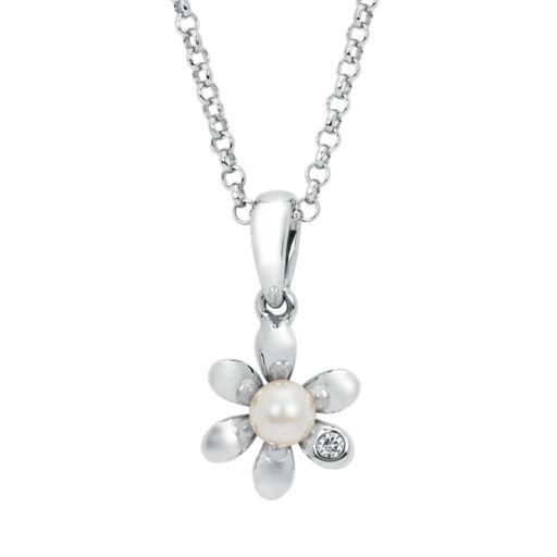 Little Diva Diamonds Sterling Silver Diamond Accent and Simulated Pearl Flower Pendant Necklace - Kids