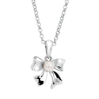 Little Diva Diamonds Sterling Silver Diamond Accent and Simulated Pearl Bow Pendant Necklace - Kids