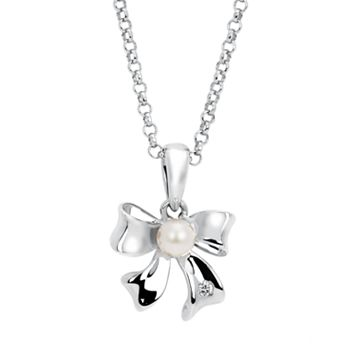 Little Diva Diamonds Sterling Silver Diamond Accent & Simulated Pearl Bow Pendant Necklace - Kids