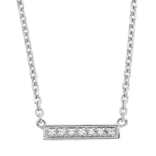 Diamond Accent Sterling Silver Bar Link Necklace