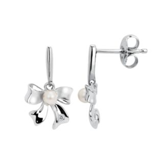Little Diva Diamonds Sterling Silver Diamond Accent and Simulated Pearl Bow Drop Earrings