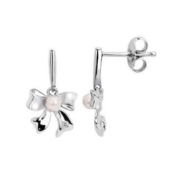 Little Diva Diamonds Sterling Silver Diamond Accent & Simulated Pearl Bow Drop Earrings