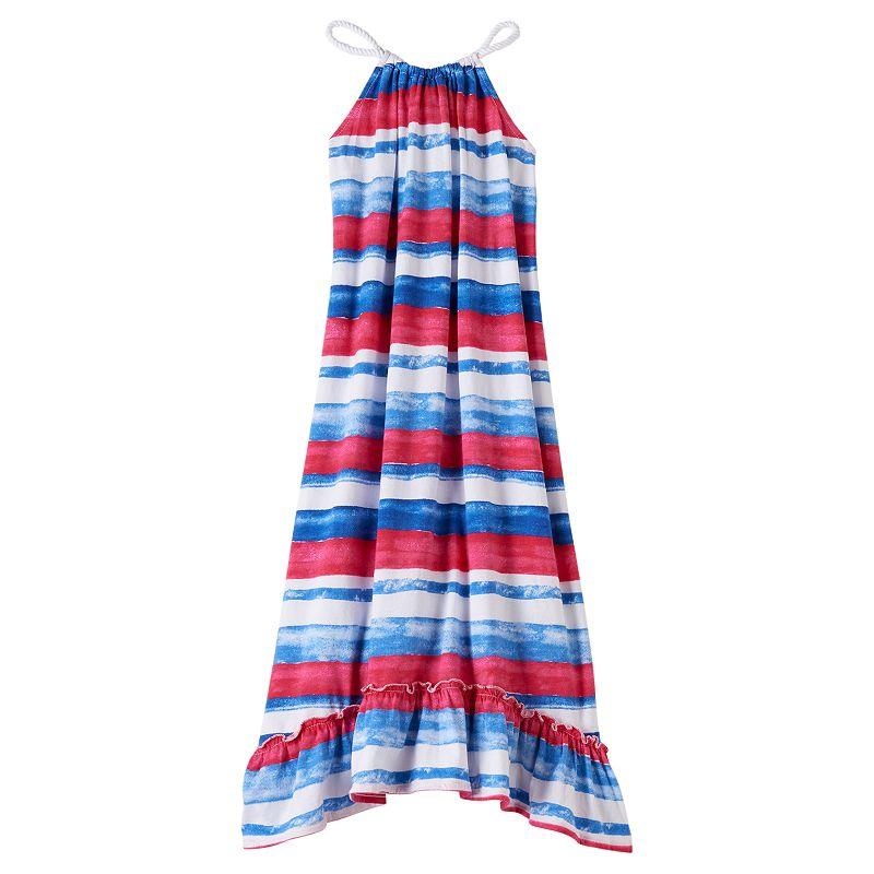 Chaps Girls 7-16 Watercolor Striped Halter Maxi Dress