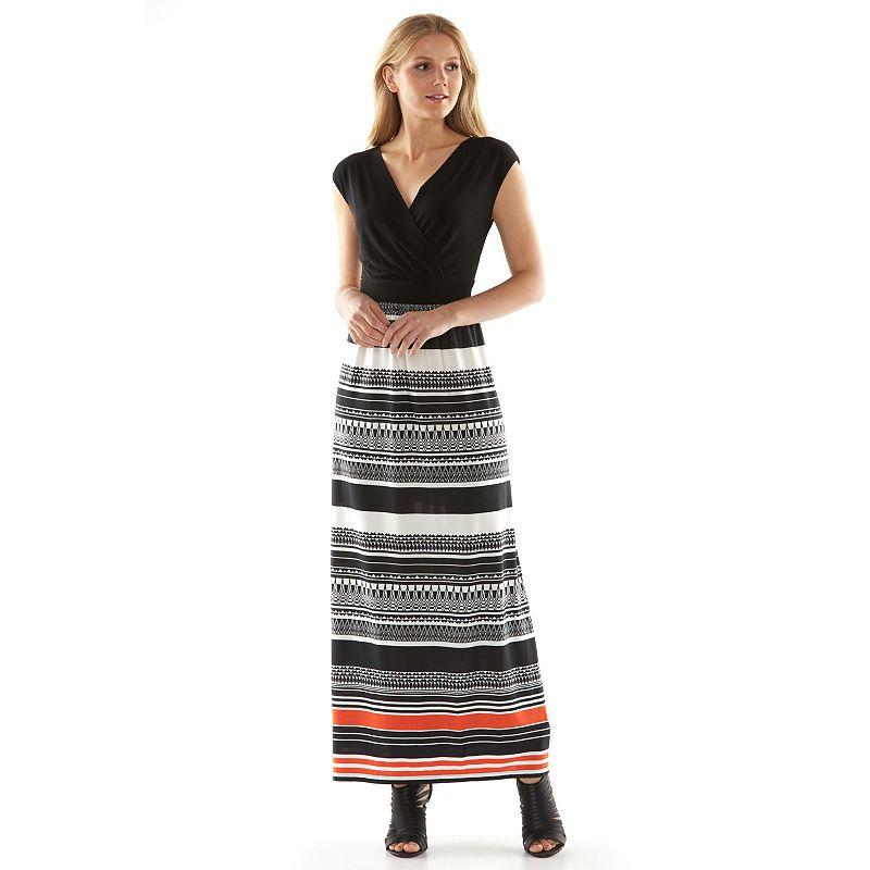 ab studio striped surplice maxi dress women 39 s size
