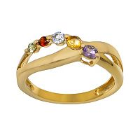 14k Gold Over Sterling Silver Gemstone Crisscross Ring