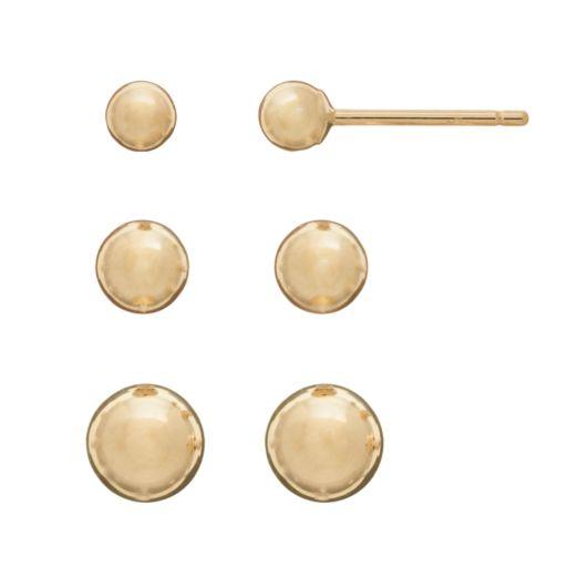 14k Gold Ball Stud Earring Set