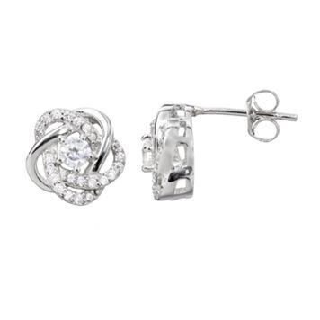Cubic Zirconia Sterling Silver Flower Love Knot Stud Earrings
