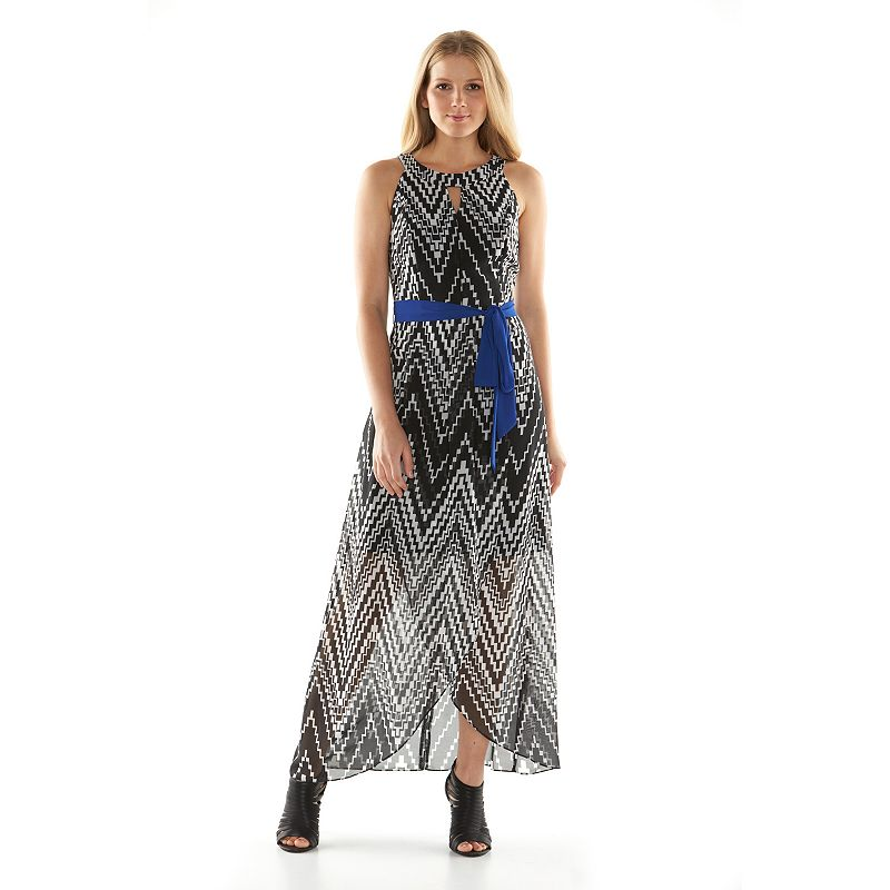 ab studio zigzag chiffon maxi dress women 39 s size