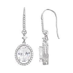 Cubic Zirconia Sterling Silver Oval Halo Drop Earrings