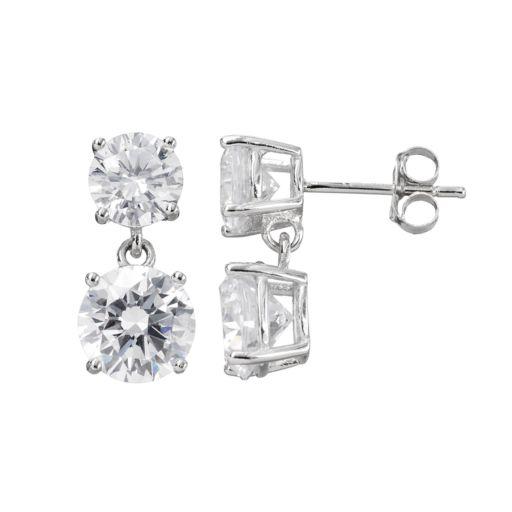 Cubic Zirconia Sterling Silver Drop Earrings