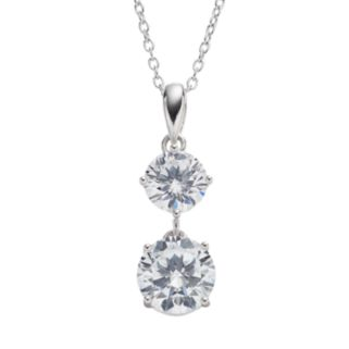 Cubic Zirconia Sterling Silver Drop Pendant Necklace