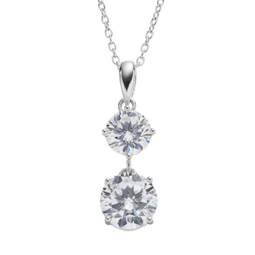Cubic Zirconia Sterling Silver Drop Pendant Necklace
