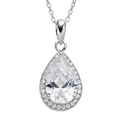 Cubic Zirconia Sterling Silver Teardrop Halo Pendant Necklace
