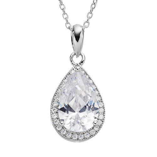 Cubic Zirconia Sterling Silver Teardrop Halo Pendant Necklace