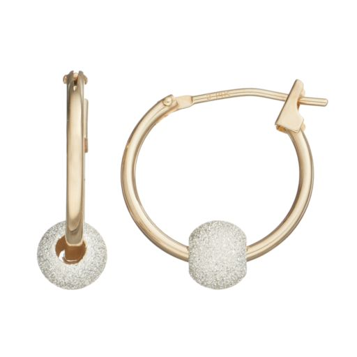14k Gold Ball Hoop Earrings