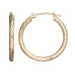 14k Gold Textured Hoop Earrings