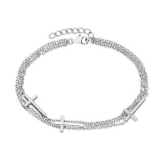 Sterling Silver Multistrand Sideways Cross Bracelet