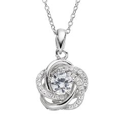 Cubic Zirconia Sterling Silver Flower Love Knot Pendant Necklace