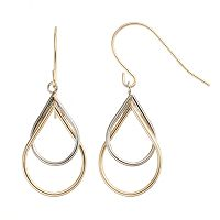 14k Gold Two Tone Teardrop Earrings
