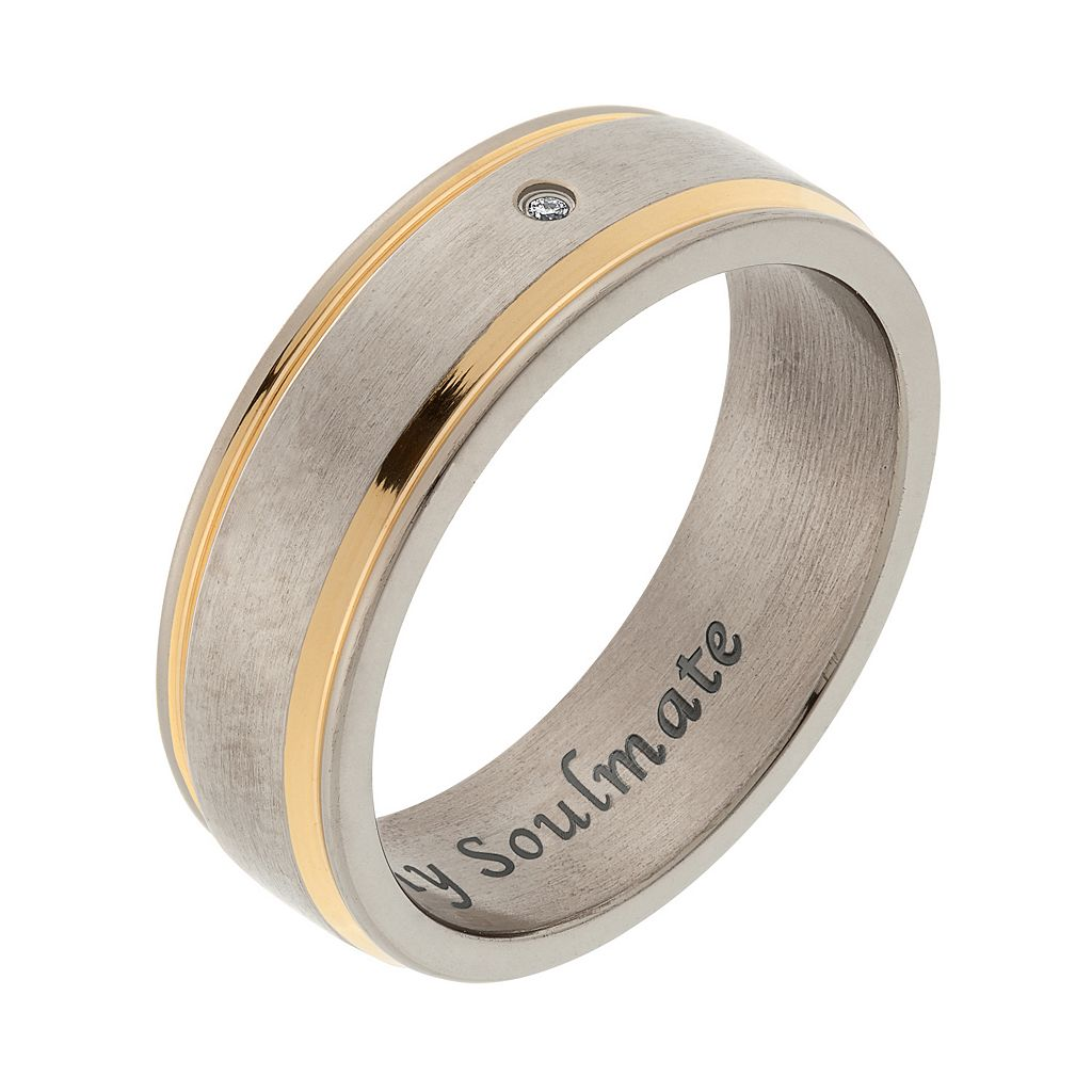 Diamond Accent Titanium and Yellow Ion-Plated Titanium Striped Wedding Band - Men
