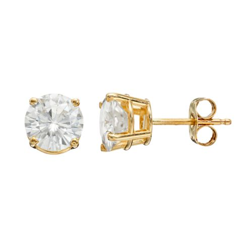 Forever Brilliant 2 Carat T.W. Lab-Created Moissanite 14k Gold Solitaire Earrings