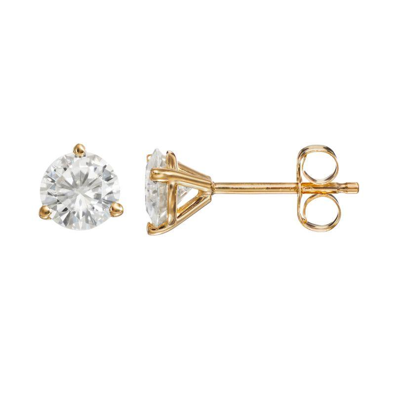 Forever Brilliant 1 Carat T.W. Lab-Created Moissanite 14k Gold Solitaire Earrings, Women's, White