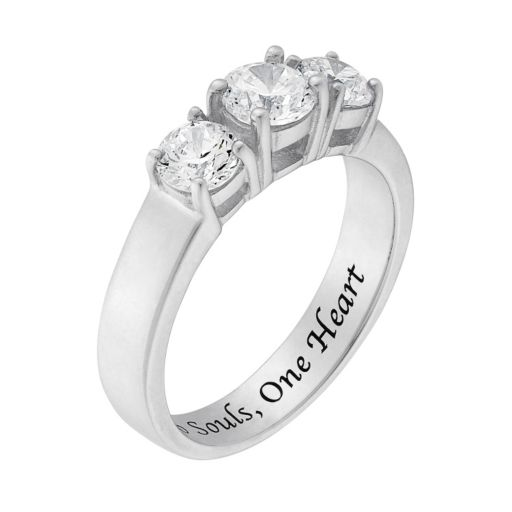Cubic Zirconia Sterling Silver 3-Stone Promise Ring
