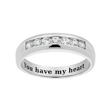 Cubic Zirconia Sterling Silver Wedding Band - Men