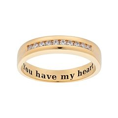 Cubic Zirconia 10k Gold Over Silver Wedding Ring