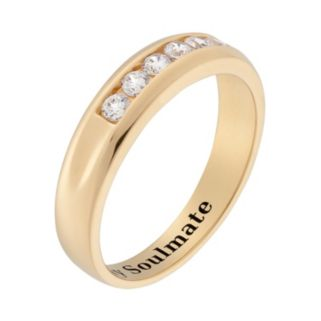Cubic Zirconia 10k Gold Over Silver Wedding Band - Men