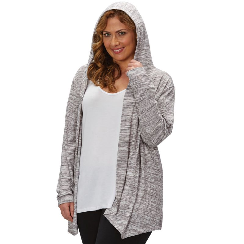 Hooded Open Front Cardigan Draped Hooded Open-front