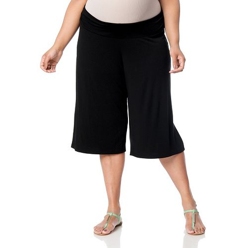 440a20375e933 Plus Size Maternity Oh Baby by Motherhood™ Underbelly Gaucho Pants