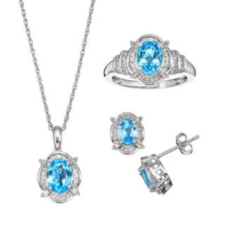 Blue Topaz and Lab-Created White Sapphire Sterling Silver Halo Pendant Necklace, Ring and Drop Earring Set