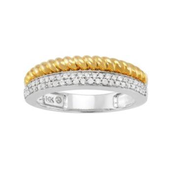 1/4 Carat T.W. Diamond 14k Gold Two Tone Twist Ring