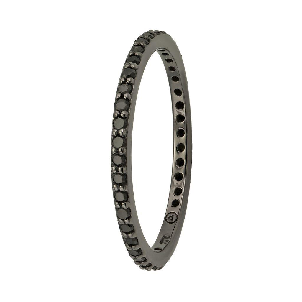 1/3 Carat T.W. Black Diamond Black Rhodium-Plated 10k White Gold Eternity Ring