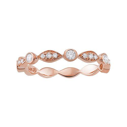 1/4 Carat T.W. Diamond 14k Rose Gold Scalloped Stack Ring
