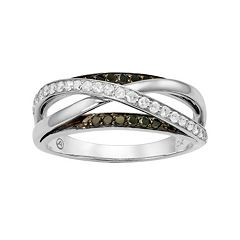 3/8 Carat T.W. Black & White Diamond 10k White Gold Crisscross Ring