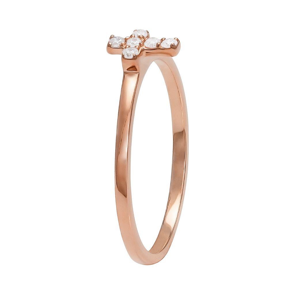 1/10 Carat T.W. Diamond 10k Rose Gold Cross Ring