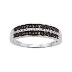 1/4 Carat T.W. Black & White Diamond 10k White Gold Ring