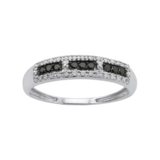 1/5 Carat T.W. Black and White Diamond 10k White Gold Ring