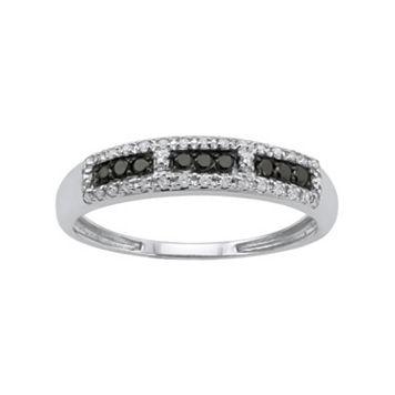 1/5 Carat T.W. Black & White Diamond 10k White Gold Ring
