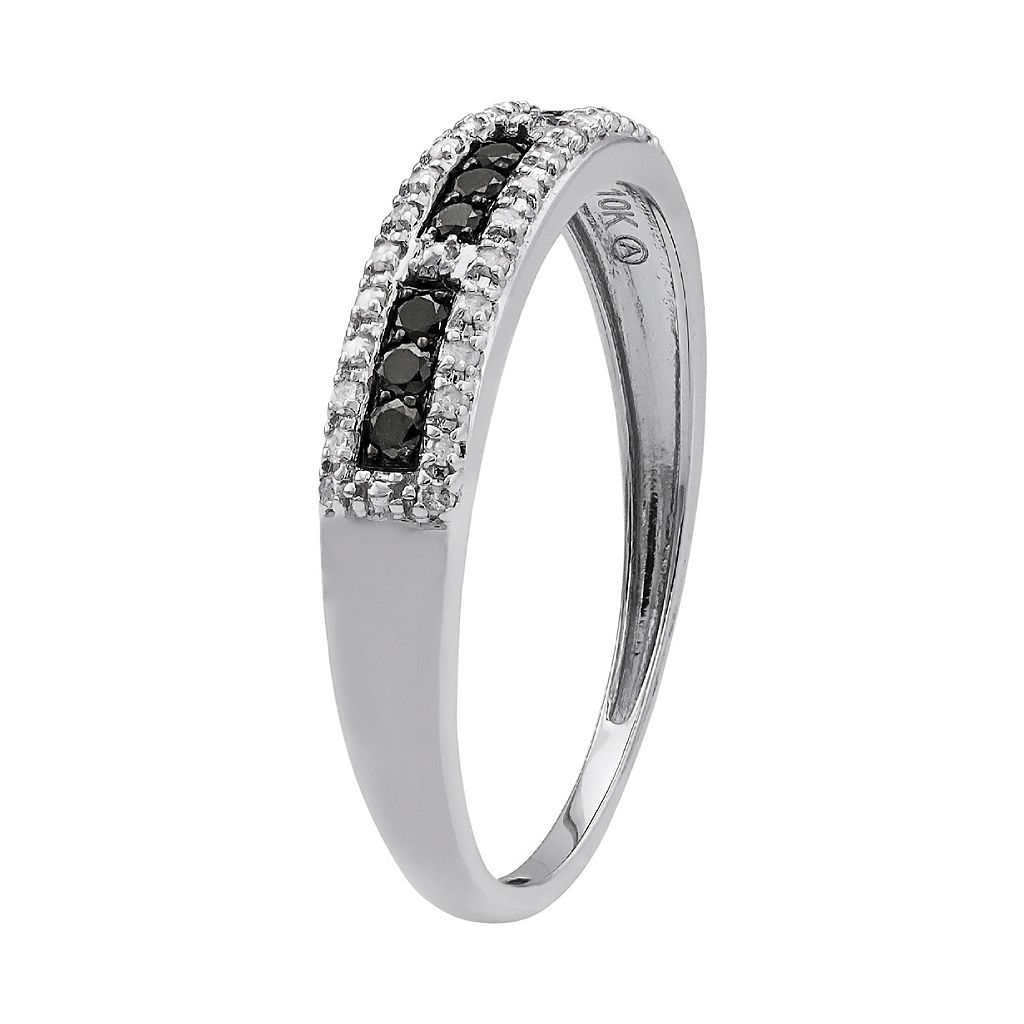 1/5 Carat T.W. Black and White Diamond 10k White Gold Ring