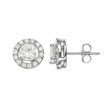 Forever Brilliant 1 1/3 Carat T.W. Lab-Created Moissanite 14k White Gold Halo Stud Earrings