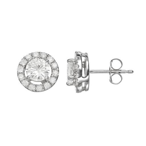 Forever Brilliant 1 1/3 Carat T.W. Lab-Created Moissanite 14k White Gold Halo Stud Earrings