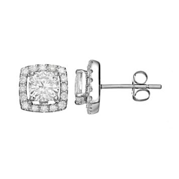 Forever Brilliant 1 9/10 Carat T.W. Lab-Created Moissanite 14k White Gold Halo Stud Earrings