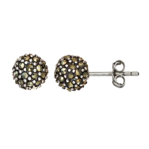 Tori Hill Marcasite Sterling Silver Ball Stud Earrings