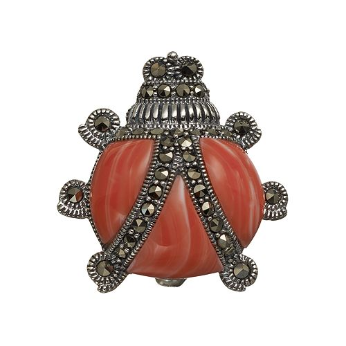 Tori Hill Simulated Coral & Marcasite Sterling Silver Ladybug Pin